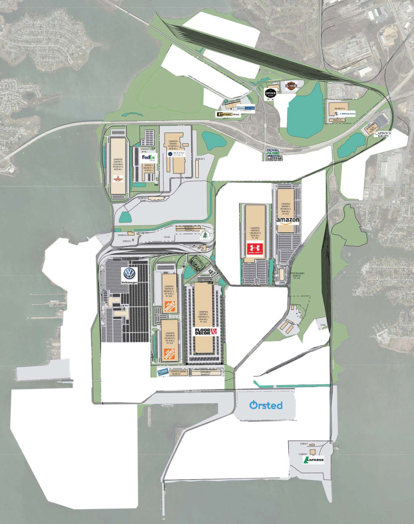 East Coast industrial real estate development port logistics brownfield site